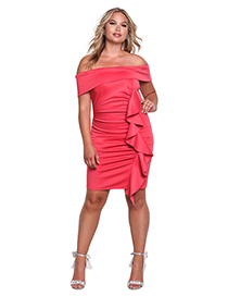 Fashion Rose Red One-line Collar Ruffled Knit Dress