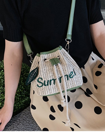 Fashion Green Straw Hand Shoulder Shoulder Bag