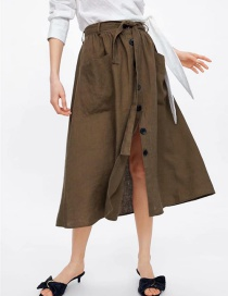 Fashion Armygreen Linen Skirt