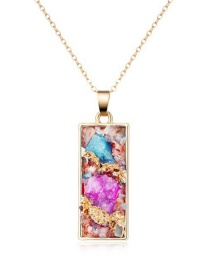 Fashion Color Natural Stone Rectangular Necklace