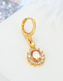 Fashion Champagne Round Crystal Flower Zircon Earrings