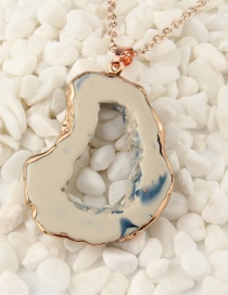 Fashion Rice Blue Imitation Natural Stone Hollow Resin Necklace