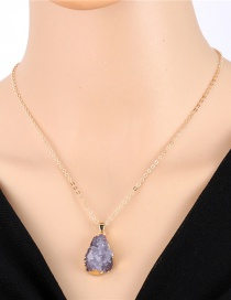 Fashion Gray Geometrical Imitation Natural Stone Resin Necklace
