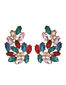 Fashion Color Alloy Studded Irregular Earrings