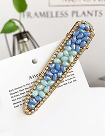 Fashion Blue Alloy Resin Beads Duckbill Hairpin