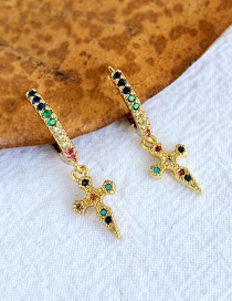 Fashion Gold Copper Inlay Zircon Cross Stud