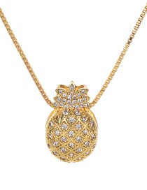Fashion Gold Copper Inlaid Zircon Pineapple Necklace