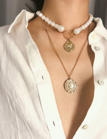 Fashion Gold Multi-layer Three-dimensional Shaped Pearl Embossed Necklace