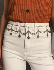 Fashion White K Multi-layered Embossed Coin Tassel Waist Chain