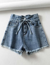 Fashion Blue Washed Raw Drawstring Denim Lace Shorts