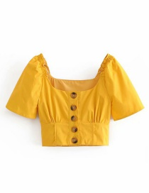Fashion Yellow Single-breasted Square Collar Shirt