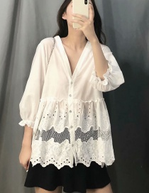 Fashion White Openwork Embroidered V-neck Single-breasted Shirt