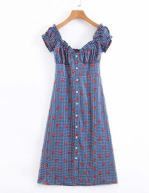 Fashion Blue Blueberry Strawberry Print Single Breasted Dress