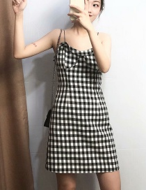 Fashion Black And White Plaid Ruffled Halter Open Back Dress