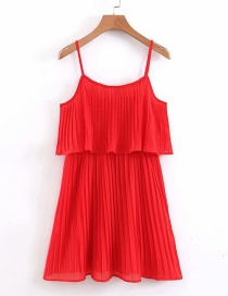 Fashion Red Sling Pleated Ruffled Dress