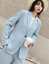 Fashion Blue One Button Suit