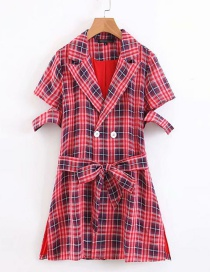Fashion Red Suit Collar Plaid Print Lace Dress