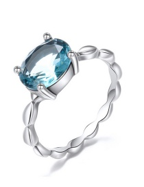 Fashion Blue 925 Silver Glass Open Ring