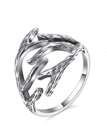 Fashion Silver 925 Silver Antler Open Ring