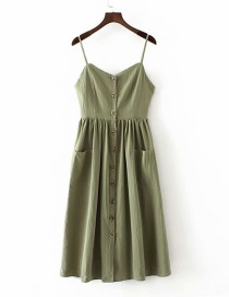 Fashion Green Sling Double Pocket Single Breasted Dress