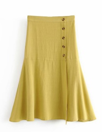 Fashion Yellow Side-breasted A-line Skirt
