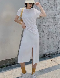 Fashion White Round Neck Pleated Dress