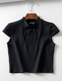 Fashion Black Chinese Knot Buckle Hollow T-shirt