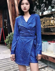 Fashion Blue Dotted Printed Wrap Tie With One Piece Culottes