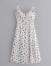 Fashion White Printed Strap Dress