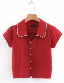 Fashion Red Doll Collar Single-breasted Shirt