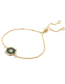 Fashion Gold Stainless Steel Color Protection Gold Chain Woven Rice Beads Eye Bracelet