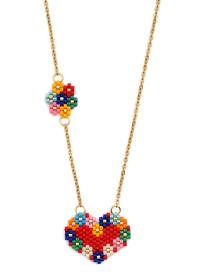 Fashion Color Love Flower Rice Beads Woven Necklace