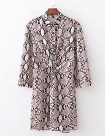 Fashion Khaki Snake Print Knotted Shirt Dress