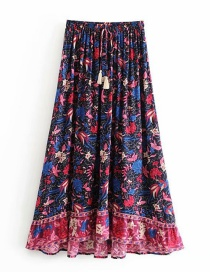 Fashion Dark Blue Phoenix Bird Print Elastic Waist Strap Skirt