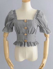 Fashion Black And White Plaid Printed Square Collar Puff Sleeve Single-breasted Short Shirt