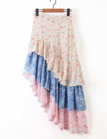 Fashion Pink + Blue Flower Print Colorblock Fishtail Skirt Ruffle Skirt