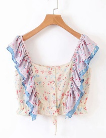 Fashion Pink + Blue Color Matching Floral Small Shirt