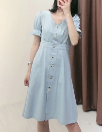 Fashion Light Blue Button V-neck Single-breasted Denim Dress