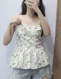 Fashion White Floral Off-the-shoulder Shirt