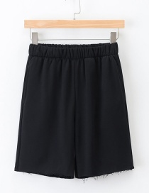 Fashion Black Elastic Waist And Five-pants