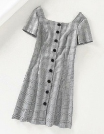 Fashion Gray Plaid Button Square Collar Dress