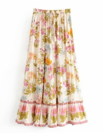 Fashion Beige Printed Elastic Waist Strap Skirt