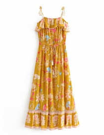 Fashion Yellow Floral Print Openwork Sling Ruffle Dress