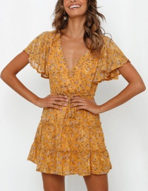 Fashion Yellow Flower Print V-neck Lace Dress
