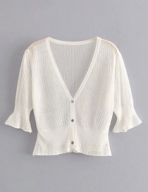 Fashion White Ice Silk Openwork Sweater