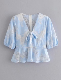 Fashion Blue Lace Stitching V-neck Perspective Shirt