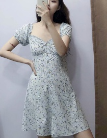 Fashion Blue One-necked Flower Print Dress