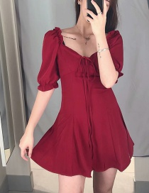 Fashion Red Puff Sleeve V-neck Lace Dress