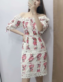 Fashion White Lace Stitching One Shoulder Flower Print Dress