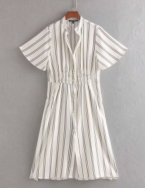 Fashion White Striped Single-breasted Dress